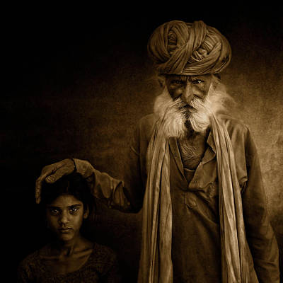India Wall Art - Photograph - With Grandpa by Fadhel Almutaghawi