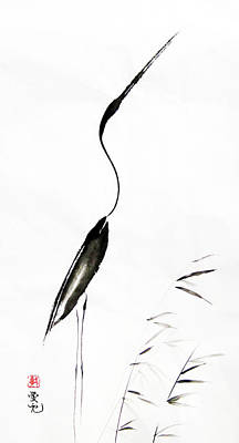 Egret Painting - With My Head Held High by Oiyee At Oystudio