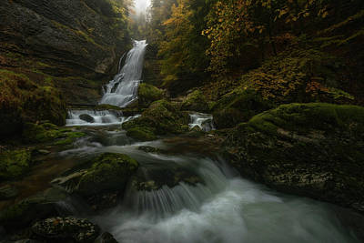 Flowing Water Photograph - With The Flaming Shades Of Fall by Enrico Fossati