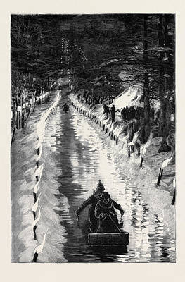 With The Marquis Of Lorne In Canada Tobogganing Art Print