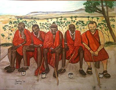 With The Masai Art Print