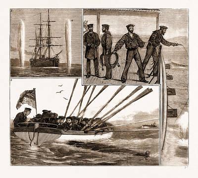 With The Mediterranean Fleet, H.m.s. Monarch At Gun Cotton Art Print by Litz Collection