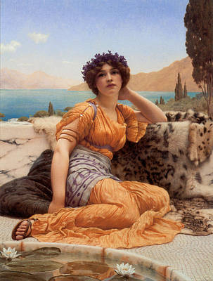 Goddess Of Beauty Painting - With Violets Wreathed And Robe Of Saffron Hue by John William Godward