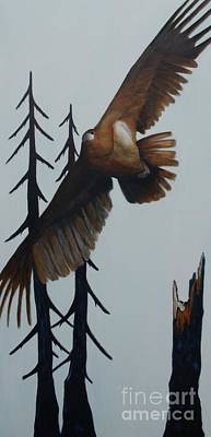 Soaring Painting - With Wind Beneath His Wings by Lisbet Damgaard