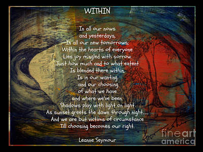 Mixed Media - Within by Leanne Seymour