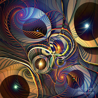 Abstract Design Digital Art - Without A Straight Line by Klara Acel