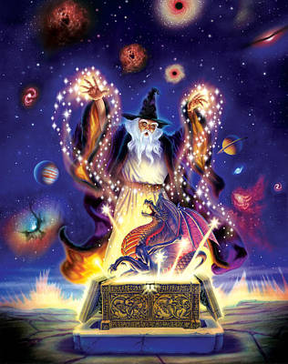 Fantasy Photograph - Wizard Dragon Spell by Andrew Farley