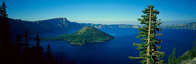 Crater Lake View Photograph - Wizard Island In Crater Lake, Oregon by Panoramic Images
