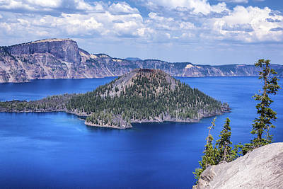 Crater Lake View Photograph - Wizard Island by Joseph S Giacalone