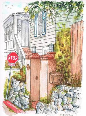 Olympus Painting - Two Pillars And A Mail Box In Mt. Olympus - Hollywood Hills - California by Carlos G Groppa