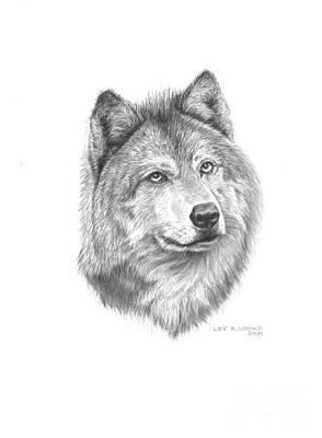 North American Wildlife Drawing - Wolf-2 by Lee Updike