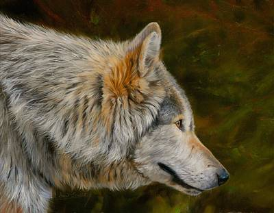 Painting - Wolf 4 by David Stribbling