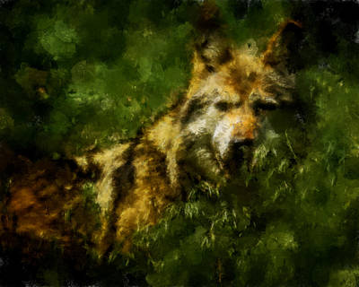 Digital Art - Wolf Abstract by Ernie Echols