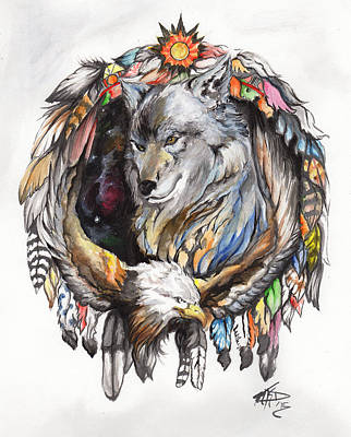Wolf And Eagle Art Print by Miguel Karlo Dominado
