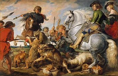 Wolf And Fox Hunt Art Print