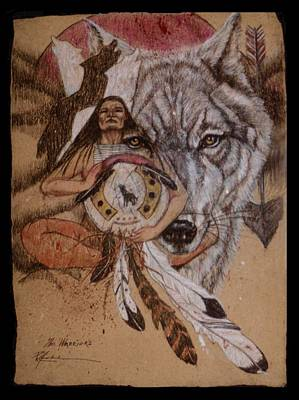 Painting - Wolf And Shaman  by Pamela Mccabe