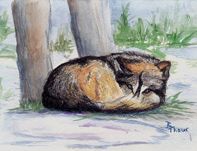 Painting - Wolf At Rest by Brenda Thour