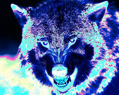 Painting - Wolf Black Light Art by Shane Dufoe
