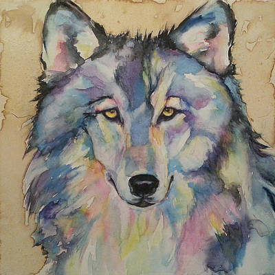 Art Print featuring the painting Wolf by Christy  Freeman