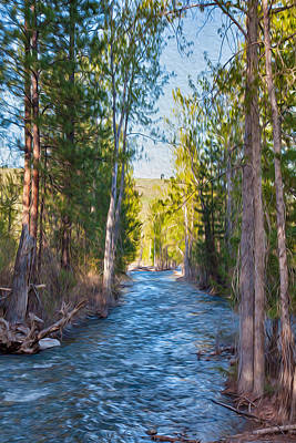 Wa Painting - Wolf Creek Flowing Downstream  by Omaste Witkowski