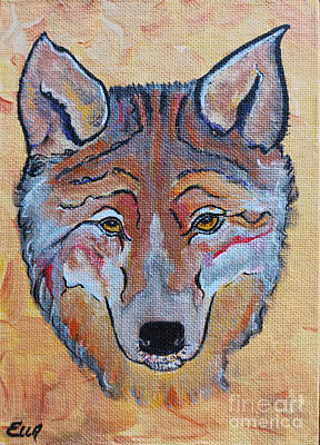 Abstract Coyote Painting - Wolf Dream Catcher by Ella Kaye Dickey
