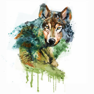 Wolf Face Watercolor Print by Marian Voicu