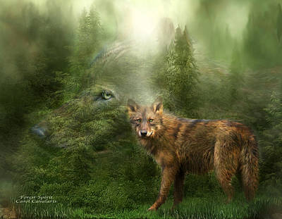 Tree Art Mixed Media - Wolf - Forest Spirit by Carol Cavalaris