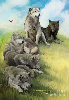 Print featuring the painting Wolf Gathering Lazy by Rob Corsetti