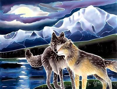 Batik Wildlife Painting - Wolf Greeting by Harriet Peck Taylor