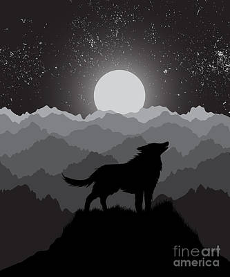 Sunset Digital Art - Wolf Howling At The Night Moon Standing by Dimonika