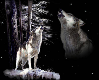 Animals Royalty-Free and Rights-Managed Images - Wolf  howling memory by Regina Femrite