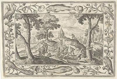 Wolf Hunting, Adriaen Collaert, Eduwart Van Hoeswinckel Print by Adriaen Collaert And Eduwart Van Hoeswinckel