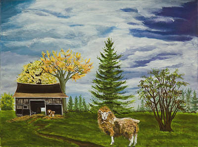 Old Barn Painting - Wolf In Sheeps Clothing by Susan Culver