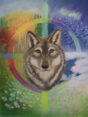 Fall Painting - Wolf In The Circle Of Life by Sherri Anderson