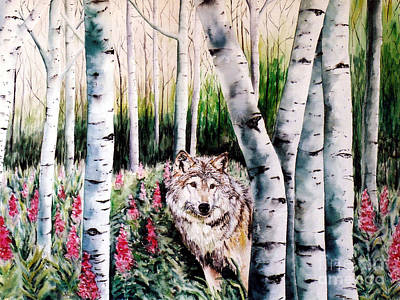 Painting - Wolf In Woods by Tracy Rose Moyers