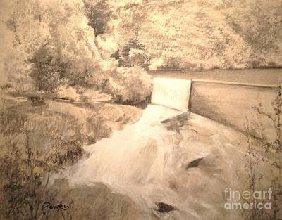 Drawing - Wolf Lake Waterfall by Mary Lynne Powers
