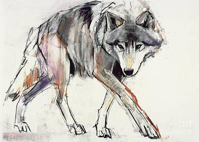 21st Painting - Wolf  by Mark Adlington
