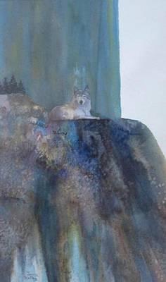 Wolf On Cliff Art Print