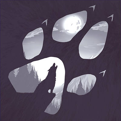 Moon Digital Art - Wolf Paw by Daniel Hapi