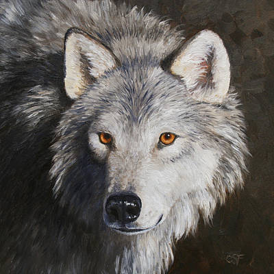North American Wildlife Painting - Wolf Portrait by Crista Forest