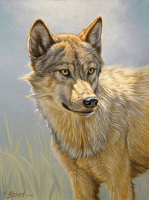 Wolf Portrait Art Print by Paul Krapf