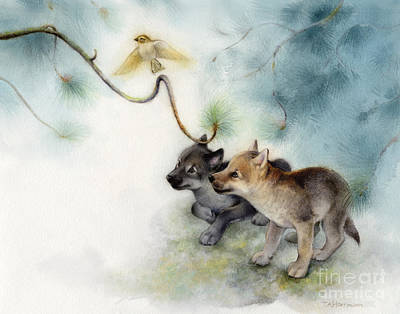 Wolf Pups And Sparrow Print by Tracy Herrmann