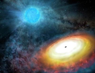 Gemini Photograph - Wolf-rayet Star And Black Hole by Gemini Observatory/aura, Artwork By Lynette Cook