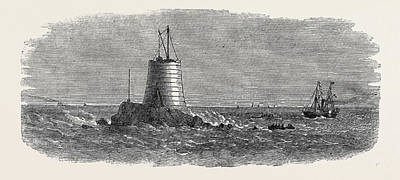 Lighthouse Drawing - Wolf Rock Lighthouse 1867 by English School