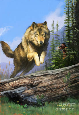 Print featuring the painting Wolf Run Indian Hunter by Rob Corsetti