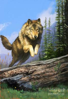 Print featuring the painting Wolf Run by Rob Corsetti