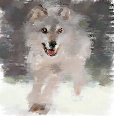 House Pet Digital Art - Wolf Run by Yury Malkov