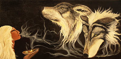 Painting - Wolf Shaman by Kija  Elstad