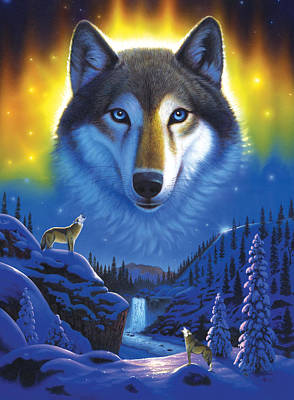 Wolf Snow Mountain Art Print by Chris Heitt