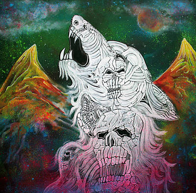 Skull Painting - Wolf Spirit Animal by Laura Barbosa